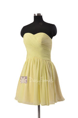Cute strapless light yellow mini skirt party dress sweetheart chiffon discount bridesmaid dresses(bm800n)