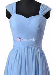 Short chicory blue bridesmaid dresses cocktail dresses in cyanus blue w/straps (bm800s)