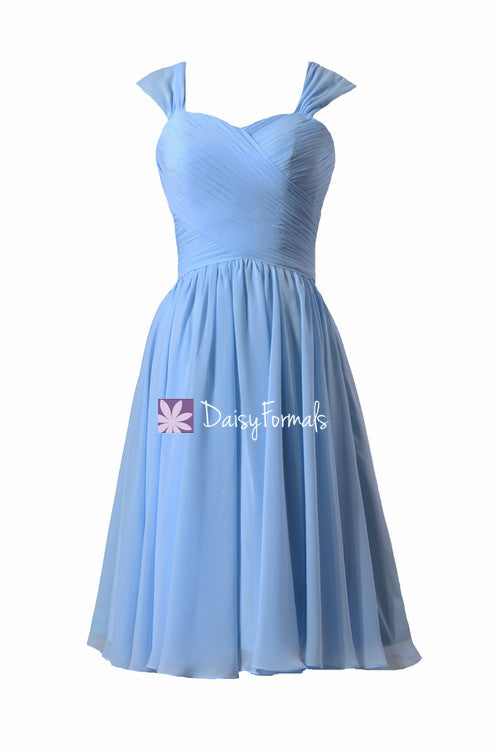 Short chicory blue bridesmaid dress cocktail dresses in cyanus blue w/straps (bm800s)