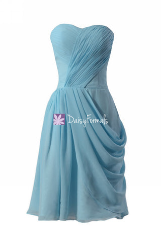 Chic Sky Blue Bridesmaid Dress Knee Length Party Dress Custom Evening Dress(BM810)