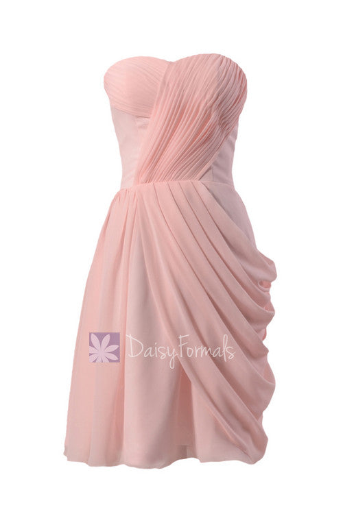 Asymmetric pastel pink chiffon party dress sweetheart knee length pink bridesmaid dress(bm810)