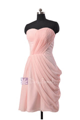 Asymmetric pastel pink chiffon party dress sweetheart knee length pink bridesmaid dresses(bm810)