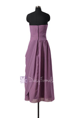 Pale mute lilac strapless bridesmaid dress long lilac sweetheart chiffon formal dresses(bm810l)