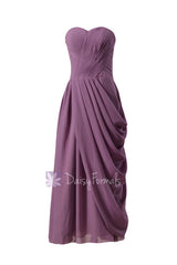 Pale mute lilac strapless bridesmaid dress long lilac sweetheart chiffon formal dress(bm810l)