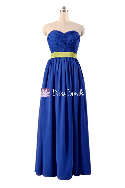 Custom quality bridesmaid dress blue green chiffon evening dress long bridal party dress (bm835ct)