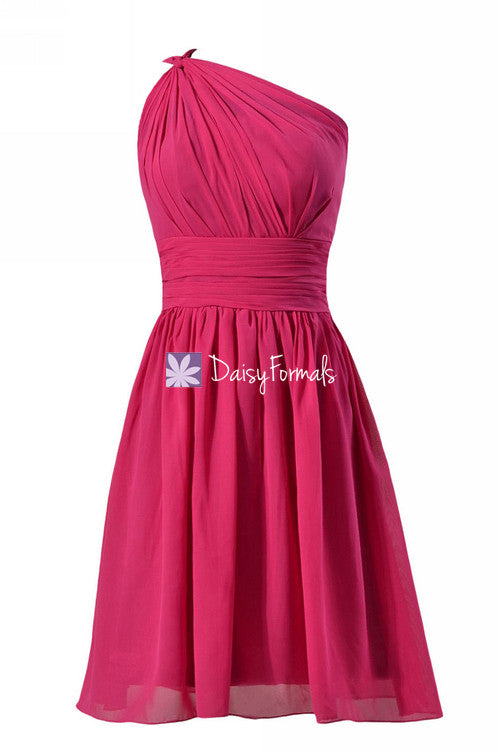Bright fuchsia affordable one-shoulder chiffon bridesmaid dresses cocktail dresses(bm837)