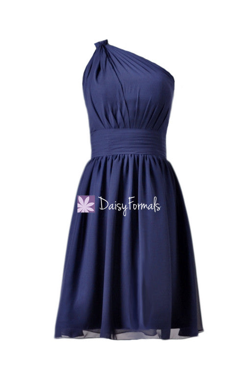 Deep blue chiffon bridesmaid dresses custom short bridal party dress formal dress (bm837)