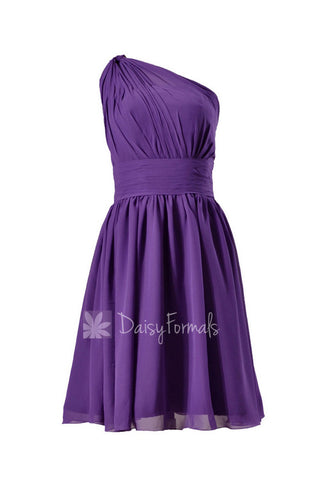 Amethyst Mesth One-Shoulder Chiffon Party Dress Regency Purple Short Bridesmaid Dress(BM837)