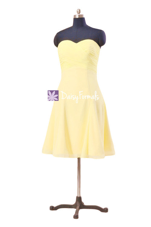 Banana yellow sweet 16 party dress strapless banana party dress cocktail dress (bm8470)