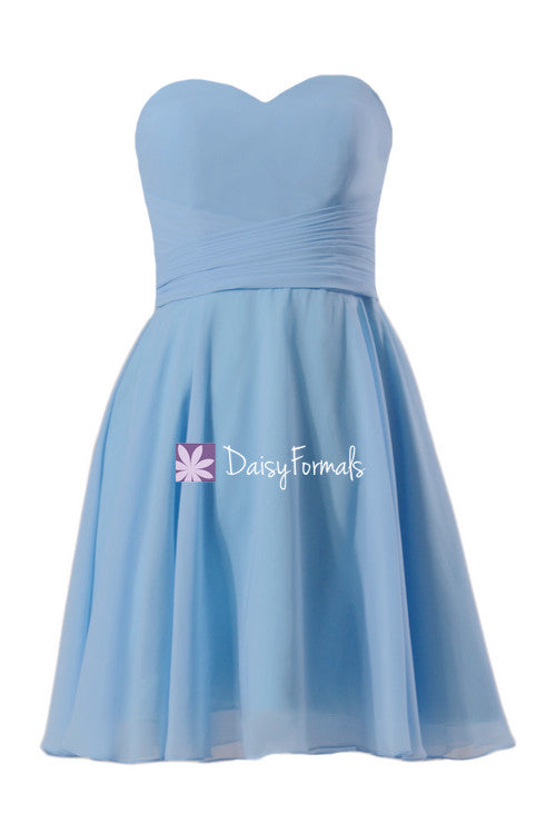 Cornflower blue bridesmaids dress online strapless full a-line party dress w/draped bodice (bm8487s)