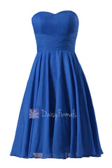 New knee length chiffon cocktail dress strapless royal blue cheap bridesmaid dresses(bm8487s)