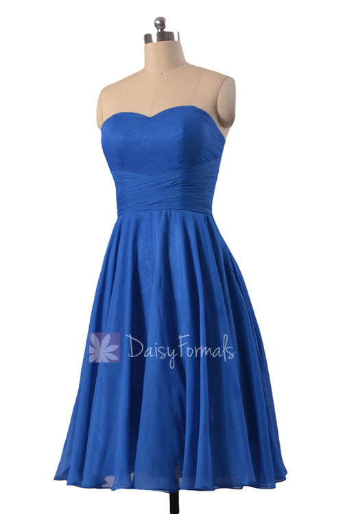 New knee length chiffon cocktail dress strapless royal blue cheap bridesmaid dress(bm8487s)