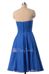 New Knee Length Chiffon Cocktail Dress Strapless Royal Blue Bridesmaid Dress(BM8487S)