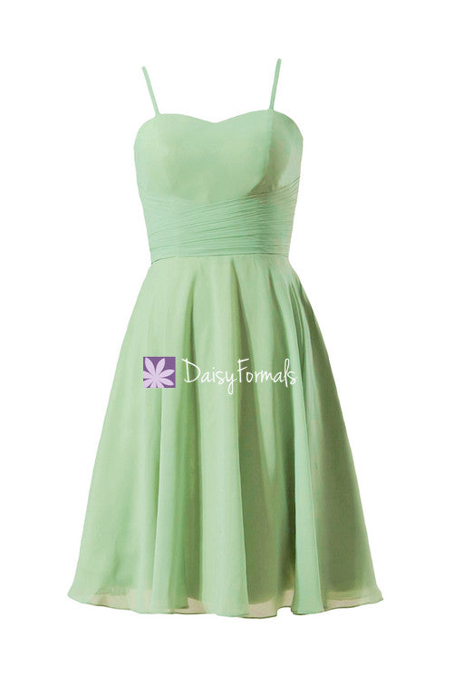 Sweetheart a-line party dress sage green sweet 16 party dress w/spaghetti straps (bm8487e)