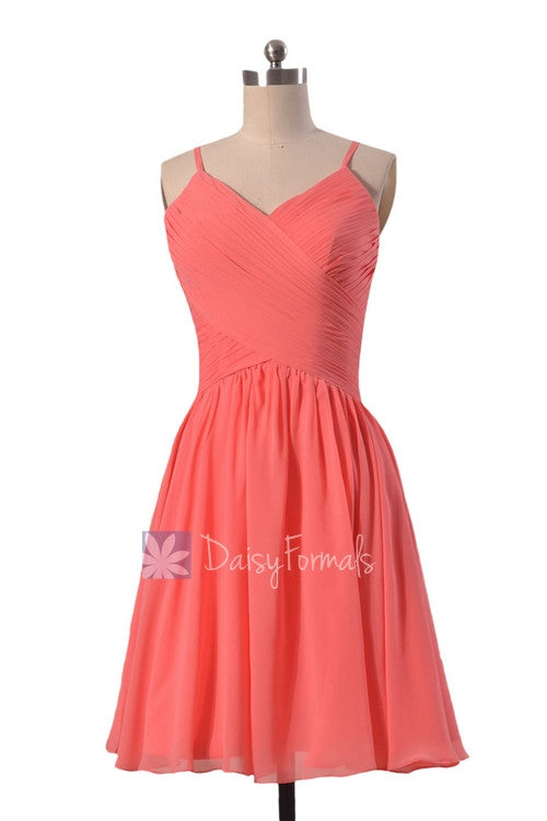 Soft chiffon discount bridesmaid dress short coral formal dress w/spaghetti straps(bm8515)