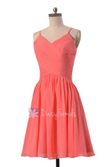 Soft chiffon discount bridesmaid dress short coral formal dresses w/spaghetti straps(bm8515)
