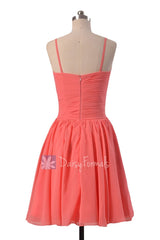 Soft Chiffon Bridesmaid Dress Short Coral Formal Dress W/Spaghetti Straps(BM8515)