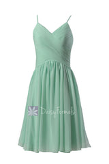 Pretty short mint chiffon formal dress wedding party dresses w/spaghetti straps(bm8515)