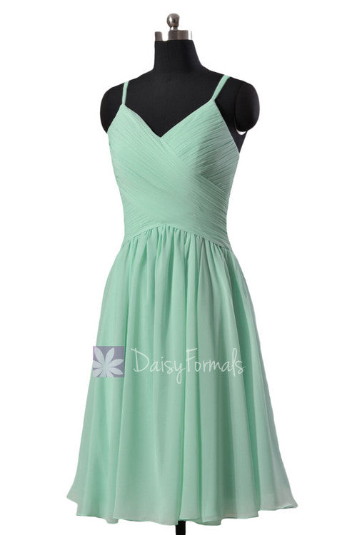 Pretty short mint chiffon formal dress wedding party dress w/spaghetti straps(bm8515)
