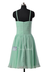 Pretty Short Mint Chiffon Dress Wedding Party Dress W/Spaghetti Straps(BM8515)