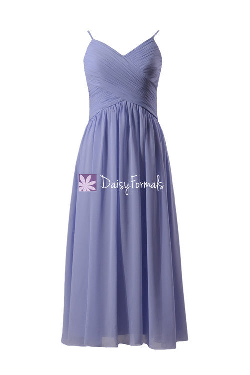 0be23d983a2c Light lilac floor length chiffon dress v-neck periwinkle beach party dress  w/straps
