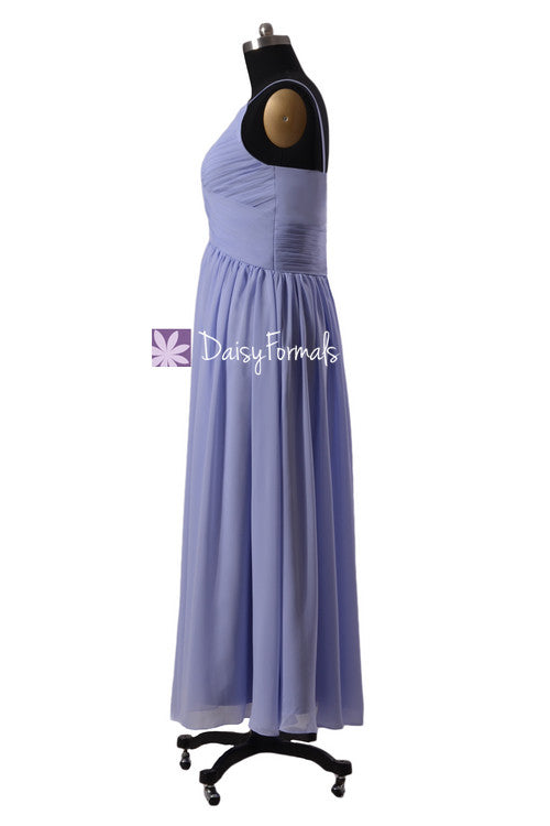 6d7520fab253 Light Lilac Floor Length Chiffon Dress V-Neck Periwinkle Beach Party Dress  W/Straps