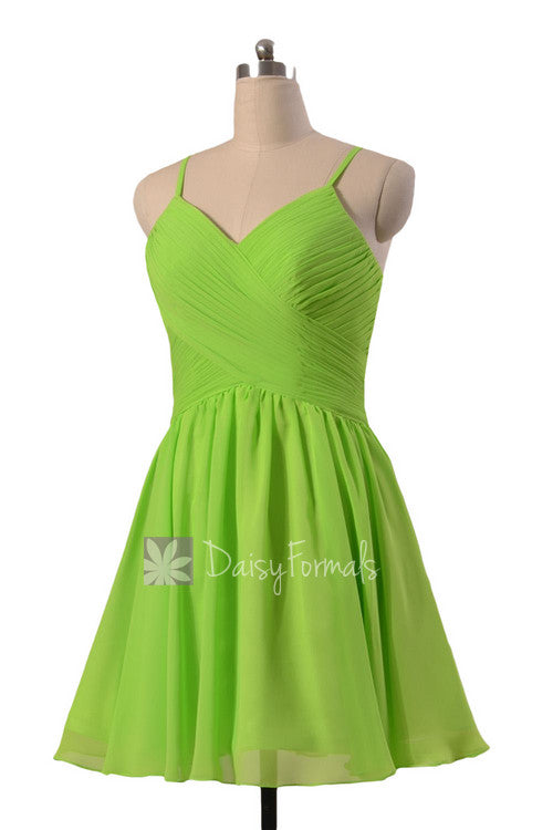 Beautiful chiffon cocktail dress yellow green mini skirt bridal party dress online(bm8515n)