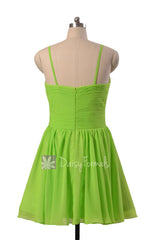 Beautiful Chiffon Cocktail Dress Yellow Green Mini Skirt Bridal Party Dress(BM8515N)