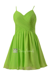 Beautiful chiffon cocktail dress yellow green mini skirt bridal party dresses online(bm8515n)