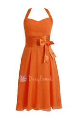 Eye-catching short halter chiffon formal dress discount orange bridesmaid dresses(bm8529)