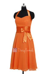 Eye-catching short halter chiffon formal dress discount orange bridesmaid dress(bm8529)
