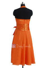 Eye-catching Short Halter Chiffon Formal Dress Orange Bridesmaid Dress(BM8529)