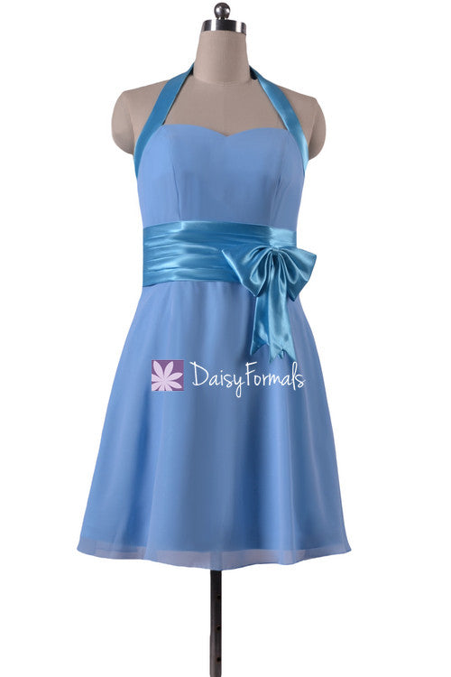 Knee length cheap chiffon bridesmaids dress chicory blue party dress medium blue chiffon dress (bm8529)