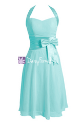 Perfect tiffany blue discount bridesmaid dress halter cocktail dress pageant dress (bm8529)
