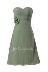 Knee length elegant chiffon dress sweetheart green online bridesmaid dress w/hand made flowers(bm8534)