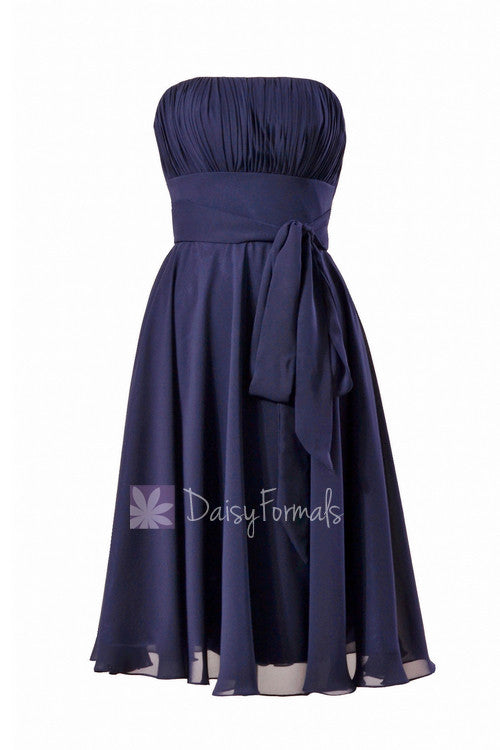 Navy strapless bridesmaid dress online short bridal party dress with sash(bm856)
