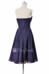 Navy strapless bridesmaid dress online short bridal party dresses with sash(bm856)