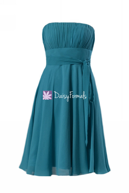 Romantic cyan inexpensive chiffon bridesmaid dress delicate strapless a-line party dress (bm856)