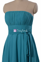 Romantic cyan inexpensive chiffon bridesmaid dress delicate strapless a-line party dresses (bm856)