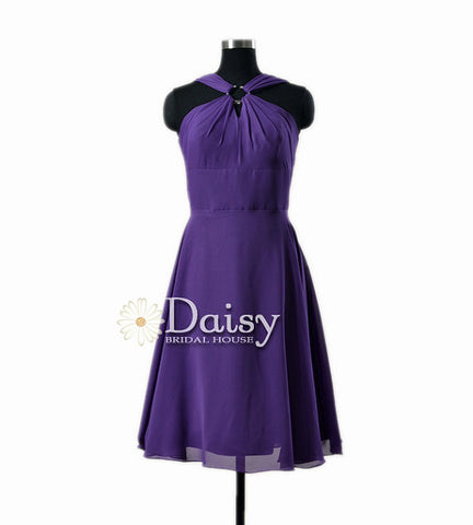 Chic Knee Length Purple Bridal Party Dress Chiffon Prom Dress W/Straps(BM856A)