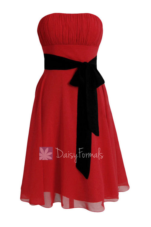 bfd9e5c4b29c Classic A-line Short Red Formal Bridesmaid Dress Cocktail Prom Dress with  Black Sash(BM856) – DaisyFormals-Bridesmaid and Formal Dresses in 59+ Colors