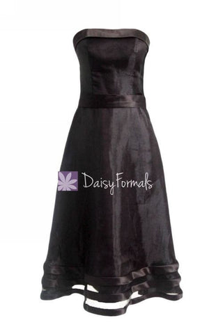 Black Strapless Party Dress Organza Formal Dress Little Black Formal Dress (BM857)