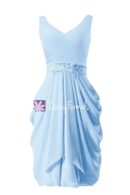 Ice Blue Chiffon Party Dress V Neckline Beading Prom Dress Bridesmaids Dress (BM873)