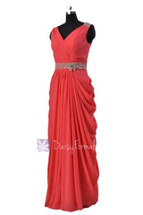 Beaded cherry chiffon dress beach wedding dress long v-neck bridesmaid dresses(bm876l)