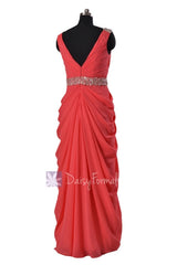 Beaded Cherry Chiffon Dress Beach Wedding Dress Long V-Neck Bridesmaid Dress(BM876L)