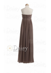 Handmade long mocha bridesmaid dress brown chiffon bridesmaid dresses(bm892a)