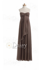 Handmade long mocha bridesmaid dress brown chiffon bridesmaid dress(bm892a)