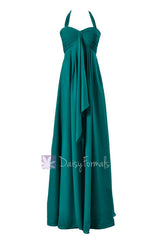 Rich teal elegant maternity bridesmaid dress halter long evening party dress(bm892l)