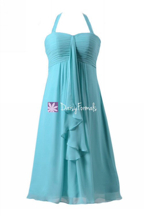 Flowing beach bridesmaid wedding dress tiffany blue bridesmaid dresses w/halter straps (bm892s)