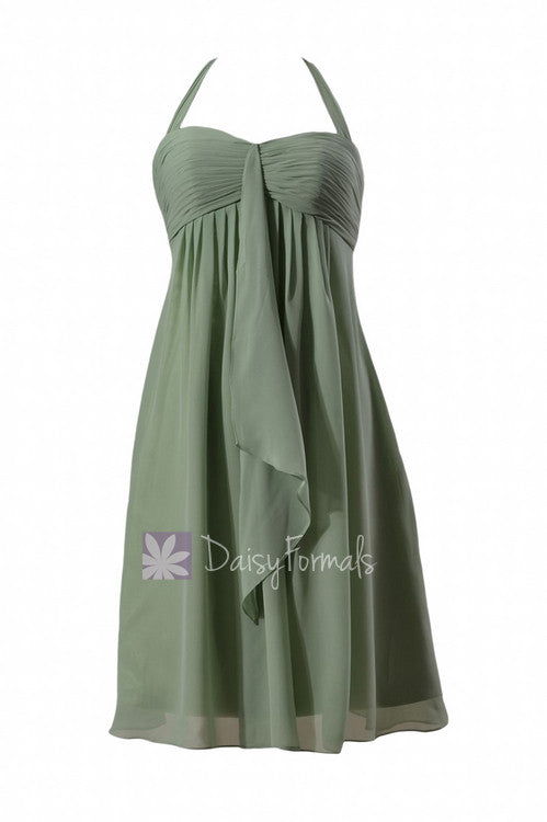 Pretty halter elegant chiffon bridesmaid dress sweetheart short bridal party dress(bm892s)